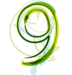 Green number 9 vector image vector image