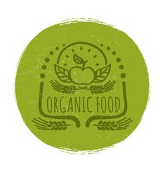 Grunge organic food label or banner design vector