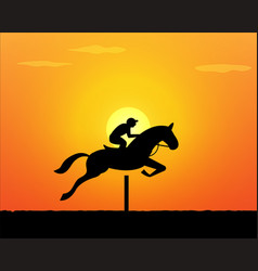 Horse jumping in sunset time vector