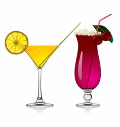 lemon and cherry cocktails vector image vector image