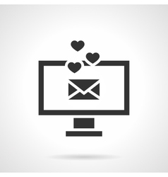 Love message black design icon vector image vector image