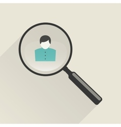 Magnifier icon with man vector