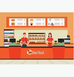 male and female cashier at fast food restaurant vector image vector image