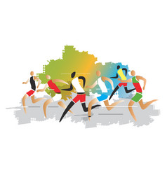 marathon runner race vector image