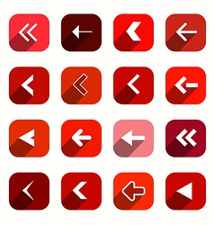 Red Flat Design Arrows Set in Rounded Squares vector image vector image