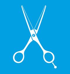 Scissors icon white vector