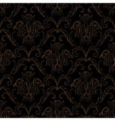 seamless black with gold stripe floral background vector image