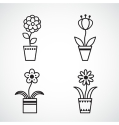 Set of flat icon flower icons silhouette isolated vector image