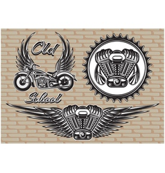 set of retro emblems on the motorcycle theme vector image