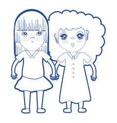 Silhouette cute pretty girls with hairstyle and vector