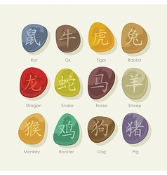 Stones set with chinese zodiac signs vector