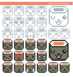 sushi pixel emoticons vector image vector image