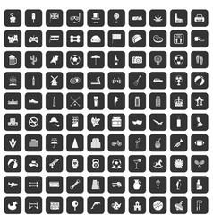 100 ball icons set black vector