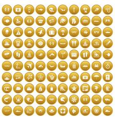100 sea life icons set gold vector