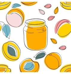 Seamless pattern apricot jam and fruits vector