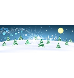 Rural winter snowy moonscape with trees and houses vector