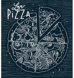 Poster love pizza blue vector