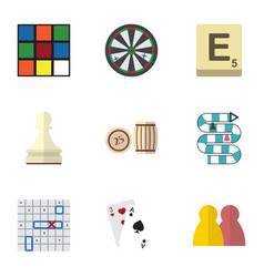 Flat icon play set of cube pawn sea fight and vector