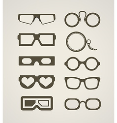 Vintage and modern glasses collection vector