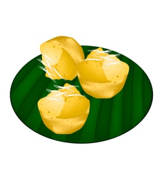 Toddy Palm Cake on Green Banana Leaf vector image