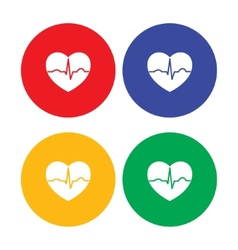 Set of flat simple heart icons vector