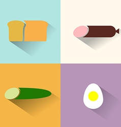 Flat icons for food cucumber salami sausage bread vector