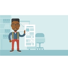 Black man happy standing inside his office vector