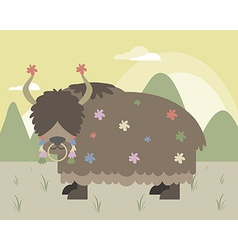 Yak in mountains vector