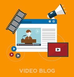 Online video blog design concept set with blogger vector
