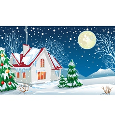 winter landscape with a house vector image