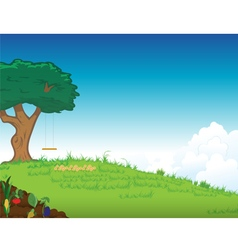 Grassy lawn tree vector