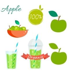 Green apple fruit and juice set vector
