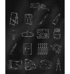 Linear hand drawn icons on chalk board vector