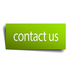 Contact us green paper sign on white background vector