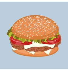 Burger with meat tomato lettuce and cheese vector