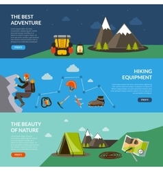 Camping adventure banner set vector