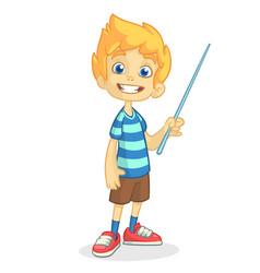 Cartoon little boy presenting vector