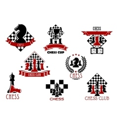 Chess game and sport club emblems or icons vector