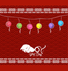 chinese new year 2018 lantern background with dog vector image