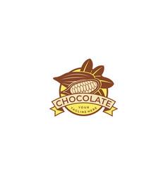 cocoa beans logo template vector image