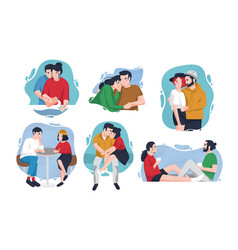 collection of portraits of happy couples in love vector image vector image