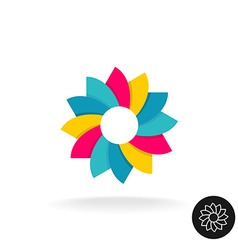 Colorful sun flower logo Abstract symbol with vector image vector image