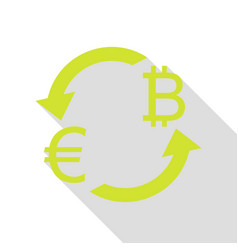 Currency exchange sign euro and bitkoin pear vector