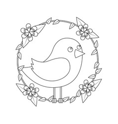 Cute bird in decorative floral wreath flowers vector