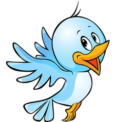Cute blue bird flying cartoon vector