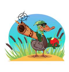 Duck wih a gun vector