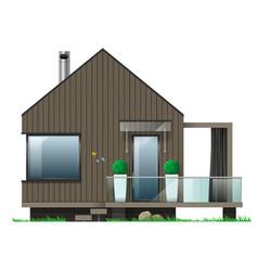 Facade of a modern house with a terrace vector