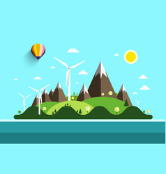 Flat design landscape island in ocean nature vector