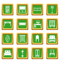 Furniture icons set green vector