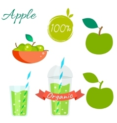 Green apple fruit and juice set vector image